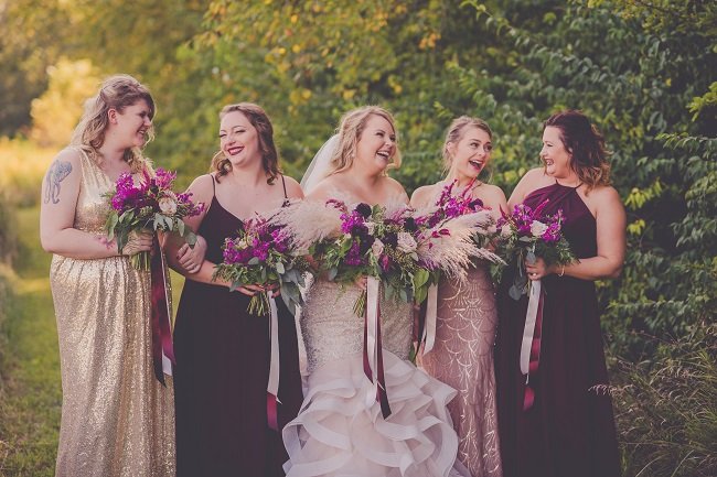 blush burgundy champagne wedding palette, bridesmaid dresses, bridesmaid bouquet