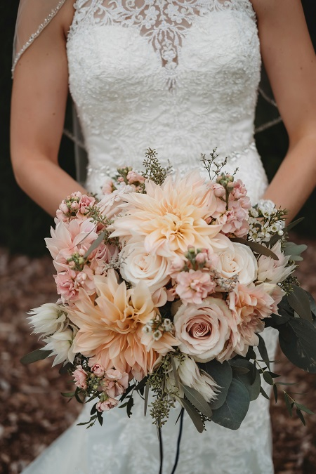 Cafe Au Late dahlia, wedding bouquet, peach bridal bouquet