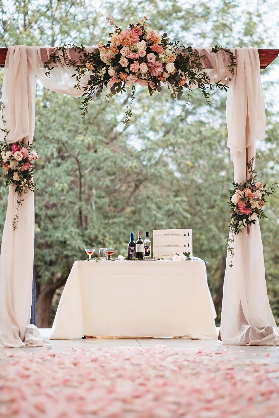 wedding decor, floral arbor, wedding backdrop