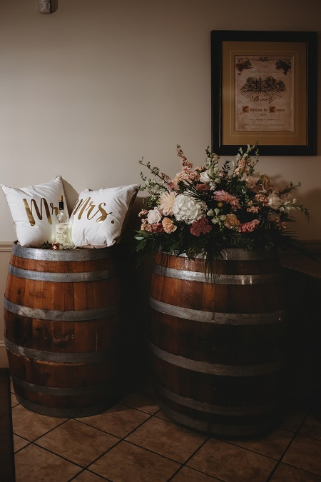 winery wedding, wine barrel decor