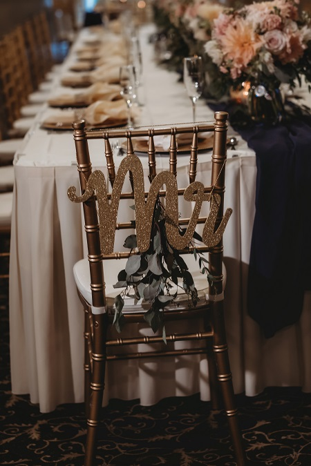 Head table decor, Mr. and Mrs.,, groom chair, bride and groom chair