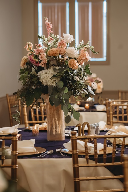 tall centerpiece arrangement, wedding decor, wedding reception decor