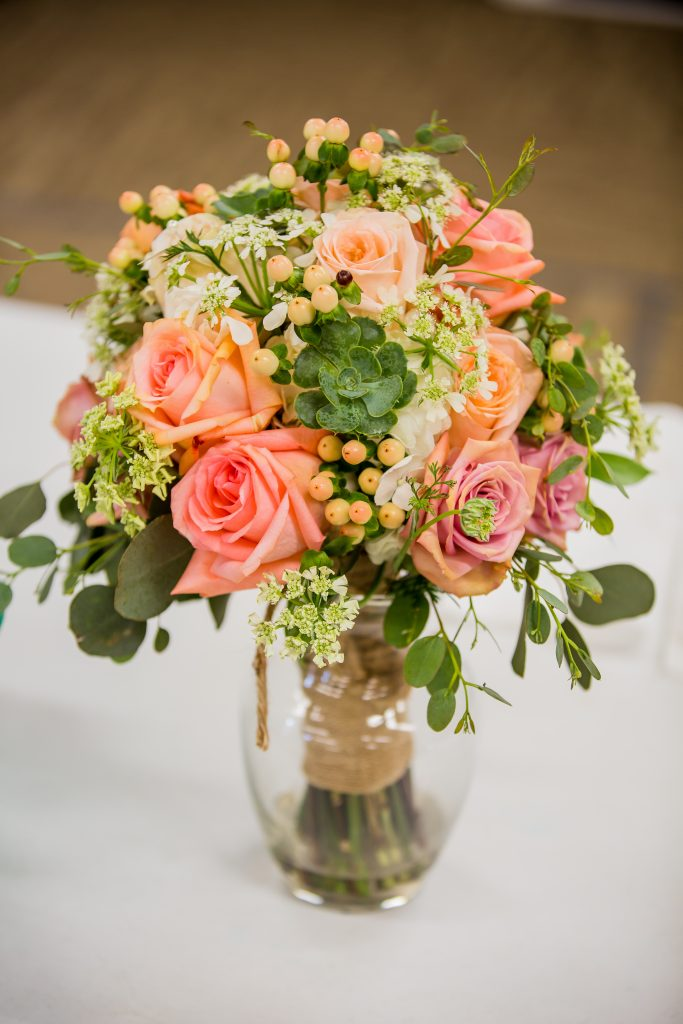 coral bridal bouquet, coral roses, coral wedding bouquet