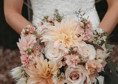 Peach and blush bridal bouquet, wedding bouquet, Cafe Au Late Dahlia