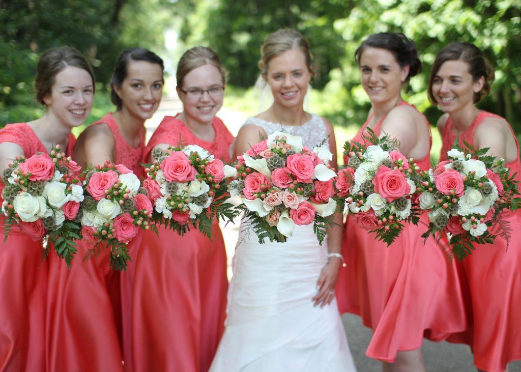 coral bridesmaids, coral roses, coral bridal bouquets, coral wedding bouquets