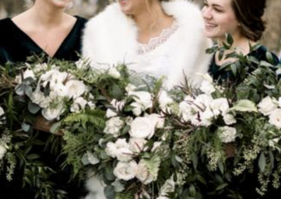 winter wedding, winter bridal bouquet, white wedding bouquet
