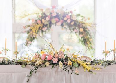 Head Table Decor, Hanging Floral Installation, Floral spray